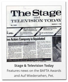 Stage & Television Today Features news on the BAFTA Awards and Auf Wiedersehen, Pet.